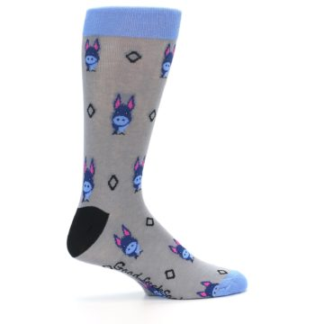 Image of Grey Blue Donkey Men's Dress Socks (side-1-24)