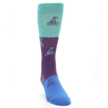 Image of Purple Mint Dog on Bike Men's Dress Socks (side-1-front-03)