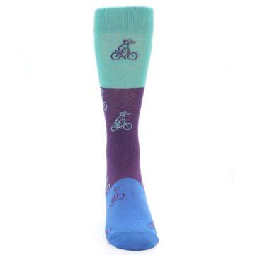 Image of Purple Mint Dog on Bike Men's Dress Socks (front-04)