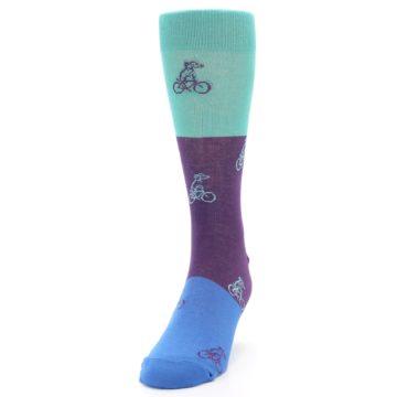 Image of Purple Mint Dog on Bike Men's Dress Socks (side-2-front-06)