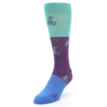 Image of Purple Mint Dog on Bike Men's Dress Socks (side-2-front-07)