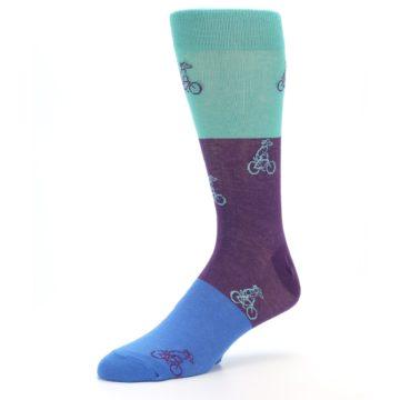 Image of Purple Mint Dog on Bike Men's Dress Socks (side-2-09)