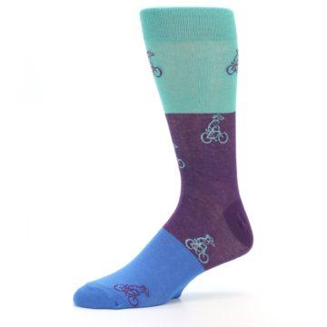 Image of Purple Mint Dog on Bike Men's Dress Socks (side-2-10)
