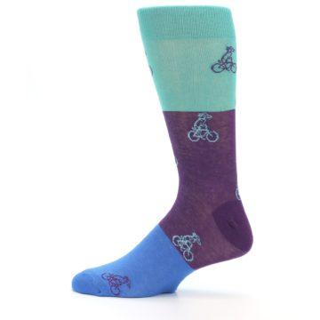 Image of Purple Mint Dog on Bike Men's Dress Socks (side-2-12)