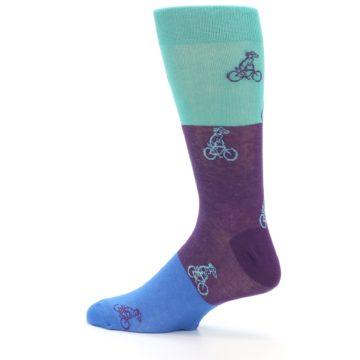 Image of Purple Mint Dog on Bike Men's Dress Socks (side-2-13)