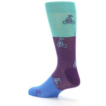 Image of Purple Mint Dog on Bike Men's Dress Socks (side-2-back-14)