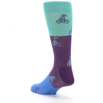 Image of Purple Mint Dog on Bike Men's Dress Socks (side-2-back-15)