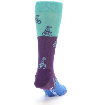 Image of Purple Mint Dog on Bike Men's Dress Socks (side-1-back-20)