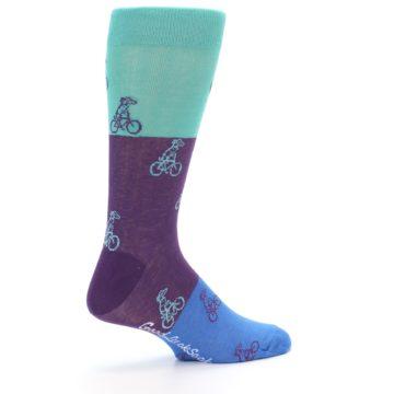 Image of Purple Mint Dog on Bike Men's Dress Socks (side-1-23)