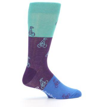 Image of Purple Mint Dog on Bike Men's Dress Socks (side-1-24)