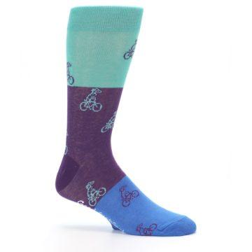 Image of Purple Mint Dog on Bike Men's Dress Socks (side-1-25)