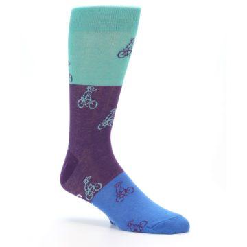 Image of Purple Mint Dog on Bike Men's Dress Socks (side-1-26)