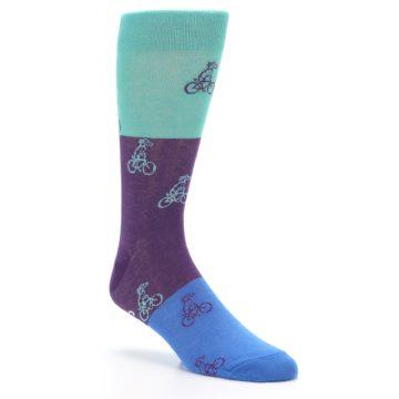 Image of Purple Mint Dog on Bike Men's Dress Socks (side-1-27)