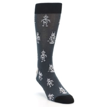 Image of Grey Robots Men's Dress Socks (side-1-front-02)