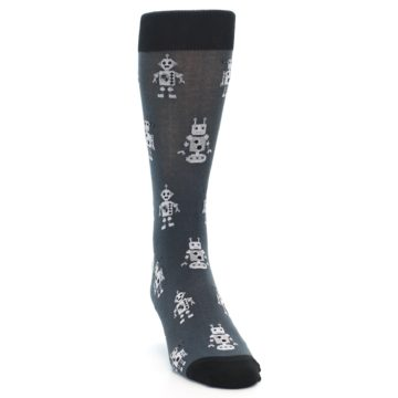 Image of Grey Robots Men's Dress Socks (side-1-front-03)