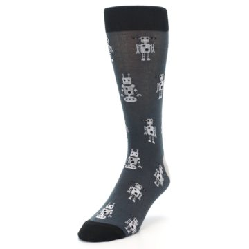 Image of Grey Robots Men's Dress Socks (side-2-front-07)