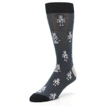 Image of Grey Robots Men's Dress Socks (side-2-front-08)