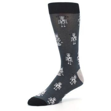 Image of Grey Robots Men's Dress Socks (side-2-09)