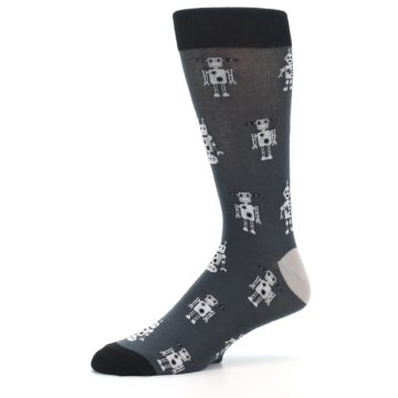 Image of Grey Robots Men's Dress Socks (side-2-10)