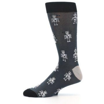 Image of Grey Robots Men's Dress Socks (side-2-11)
