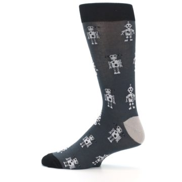 Image of Grey Robots Men's Dress Socks (side-2-12)