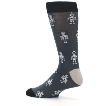Image of Grey Robots Men's Dress Socks (side-2-13)