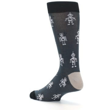 Image of Grey Robots Men's Dress Socks (side-2-back-14)