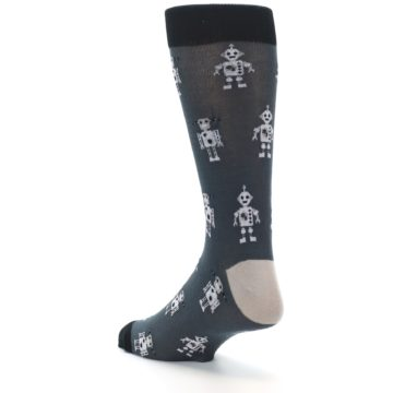 Image of Grey Robots Men's Dress Socks (side-2-back-15)