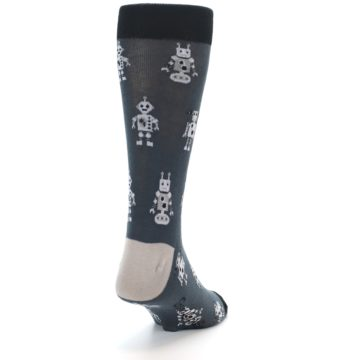 Image of Grey Robots Men's Dress Socks (side-1-back-20)