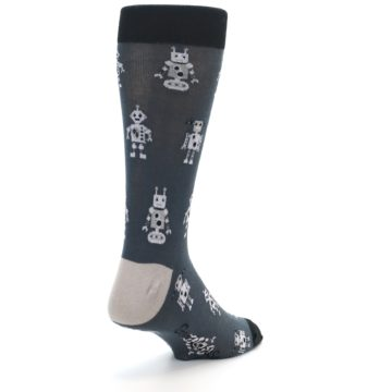 Image of Grey Robots Men's Dress Socks (side-1-back-21)