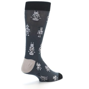 Image of Grey Robots Men's Dress Socks (side-1-back-22)