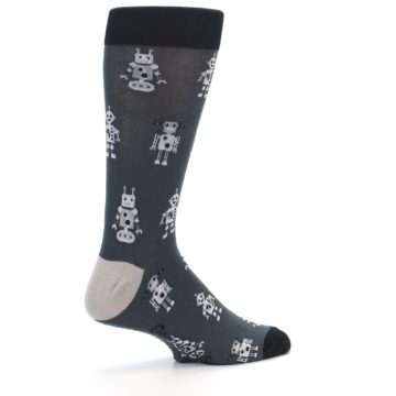 Image of Grey Robots Men's Dress Socks (side-1-23)