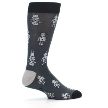 Image of Grey Robots Men's Dress Socks (side-1-24)