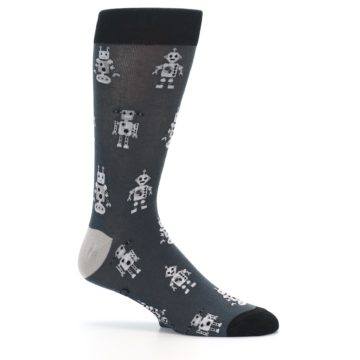 Image of Grey Robots Men's Dress Socks (side-1-25)