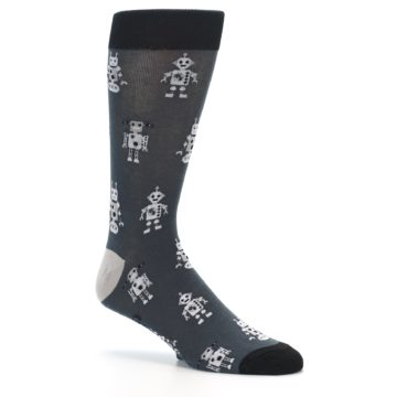 Image of Grey Robots Men's Dress Socks (side-1-26)