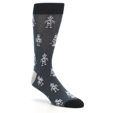 Image of Grey Robots Men's Dress Socks (side-1-27)