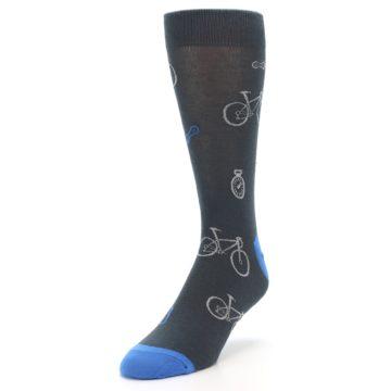 Image of Grey Blue Bikes Men's Dress Socks (side-2-front-07)