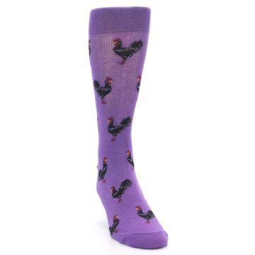 Image of Purple Roosters Men's Dress Socks (side-1-front-03)