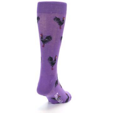 Image of Purple Roosters Men's Dress Socks (side-1-back-20)