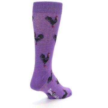 Image of Purple Roosters Men's Dress Socks (side-1-back-21)