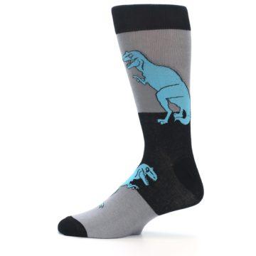 Image of Grey Black T-Rex Men's Dress Socks (side-2-12)