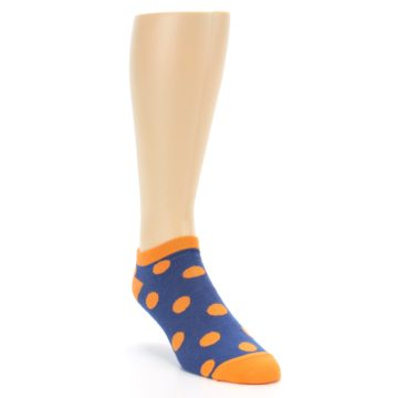 Image of Blue Orange Polka Dot Men's Ankle Socks (side-1-front-02)