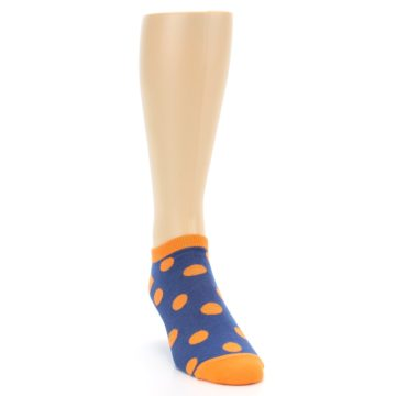 Image of Blue Orange Polka Dot Men's Ankle Socks (side-1-front-03)