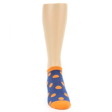 Image of Blue Orange Polka Dot Men's Ankle Socks (front-04)