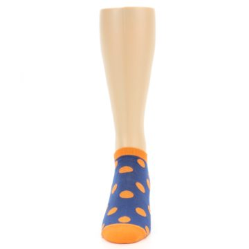 Image of Blue Orange Polka Dot Men's Ankle Socks (front-05)
