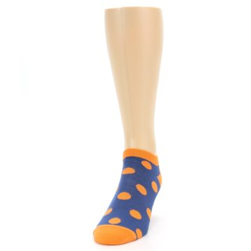 Image of Blue Orange Polka Dot Men's Ankle Socks (side-2-front-06)