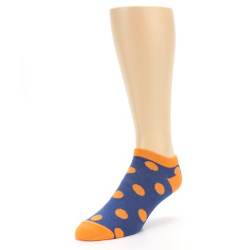 Image of Blue Orange Polka Dot Men's Ankle Socks (side-2-front-08)