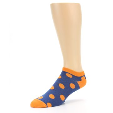Image of Blue Orange Polka Dot Men's Ankle Socks (side-2-09)