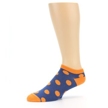 Image of Blue Orange Polka Dot Men's Ankle Socks (side-2-10)