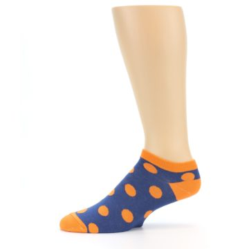Image of Blue Orange Polka Dot Men's Ankle Socks (side-2-11)